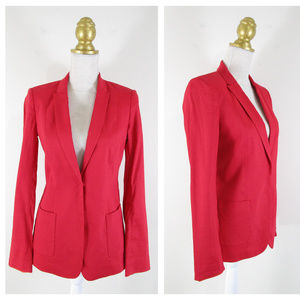 Elie Tahari Red Linen Blend Blazer Suit Jacket